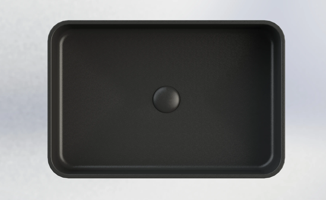 Sub 162 rechthoekige opzetwastafel 56,5 x 37,5 x 13 cm, mat zwart