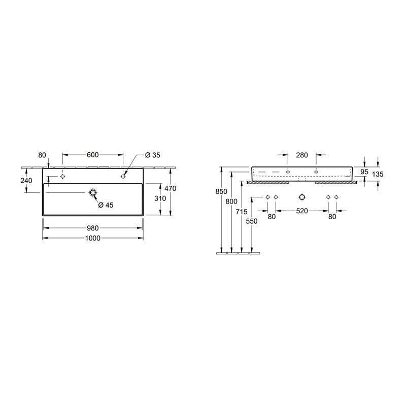 Villeroy & Boch Memento 2.0 wastafel 100x47 cm onderzijde geslepen met overloop met 2 kraangaten CeramicPlus, mat wit