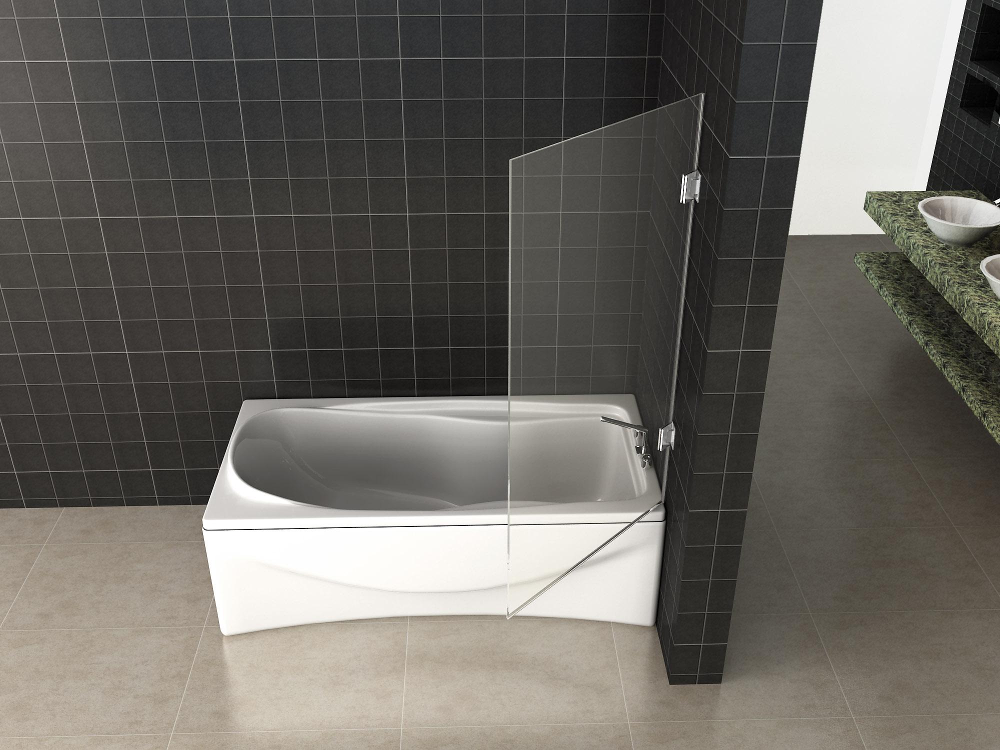 Wiesbaden Less profielloze scharnierende badwand 80 cm, 6 mm Nano-glas