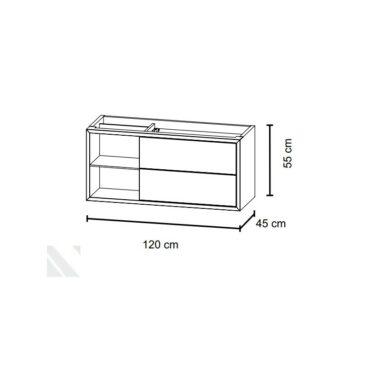Bruynzeel Box wastafelonderkast 120 cm met nis links en 2 laden, glans wit