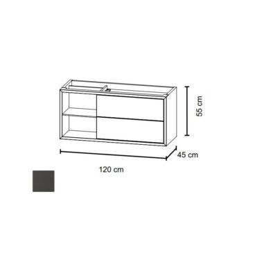 Bruynzeel Box wastafelonderkast 120 cm met nis links en 2 laden, grafiet
