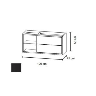 Bruynzeel Box wastafelonderkast 120 cm met nis links en 2 laden, zijde zwart
