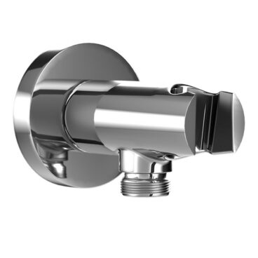 HSK Shower & Co! haakse aansluiting met geïntegreerde wandhouder rond, chroom