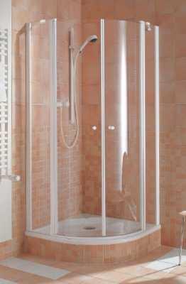 Kermi Ibiza kwartrond segment 90 cm, matzilver-helder glas