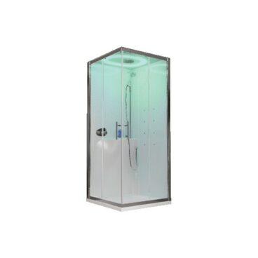 Novellini Eon A douchecabine met hydromassage, afdekkap en hoge douchebak 80 x 80 cm met wit paneel mat chroom profiel, helder glas