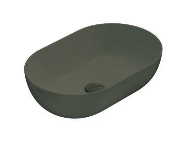 Globo T-Edge opzetwastafel ovaal 54x37x16 cm zonder overloop, castagno