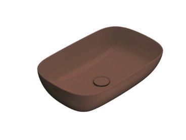 Globo T-Edge opzetwastafel rechthoekig 60x38x16 cm zonder overloop, mattone