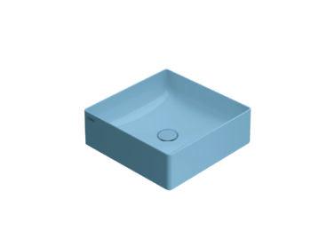 Globo T-Edge opzetwastafel vierkant met rechte hoeken 42x16 cm zonder overloop, bluette
