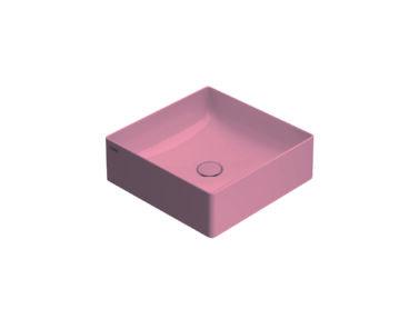 Globo T-Edge opzetwastafel vierkant met rechte hoeken 42x16 cm zonder overloop, fard