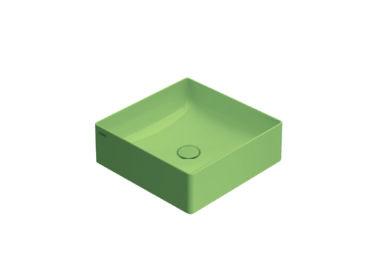 Globo T-Edge opzetwastafel vierkant met rechte hoeken 42x16 cm zonder overloop, lime