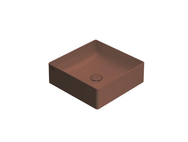 Globo T-Edge opzetwastafel vierkant met rechte hoeken 42x16 cm zonder overloop, mattone