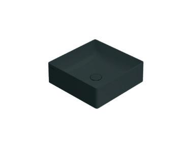 Globo T-Edge opzetwastafel vierkant met rechte hoeken 42x16 cm zonder overloop, smoke