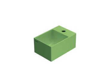 Globo T-Edge wastafel rechthoekig 30x20x14 cm met kraangat zonder overloop, mattone