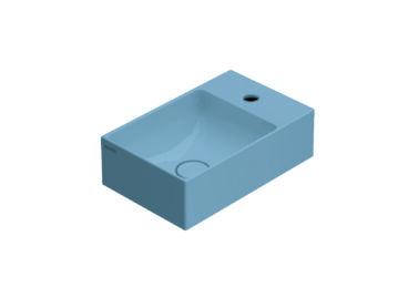 Globo T-Edge wastafel rechthoekig 40x25x12 cm met kraangat zonder overloop, bluette