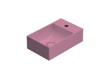Globo T-Edge wastafel rechthoekig 40x25x12 cm met kraangat zonder overloop, fard
