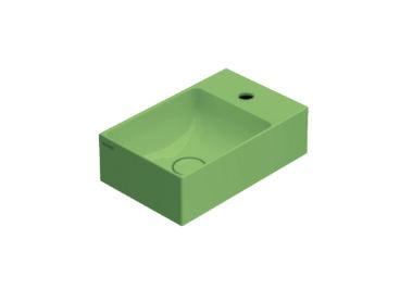 Globo T-Edge wastafel rechthoekig 40x25x12 cm met kraangat zonder overloop, lime