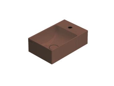 Globo T-Edge wastafel rechthoekig 40x25x12 cm met kraangat zonder overloop, mattone