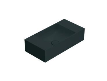 Globo T-Edge wastafel rechthoekig 50x25x12 cm met een voorbereid kraangat en overloop, smoke