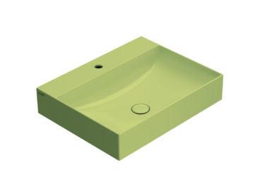 Globo T-Edge wastafel rechthoekig 60x47x14,5 cm met kraangat zonder overloop, senape