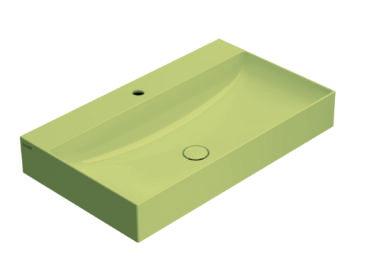 Globo T-Edge wastafel rechthoekig 80x47x14,5 cm met kraangat zonder overloop, senape