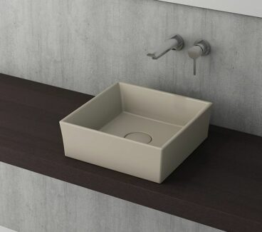 SHOWMODEL: Bocchi Modena vierkante waskom 38cm zonder kraangat mat kashmir