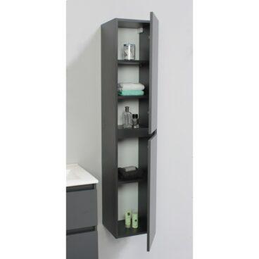 Sub Online greeploze hoge kast met 2 deuren 145 x 30 x 30 cm, mat antraciet