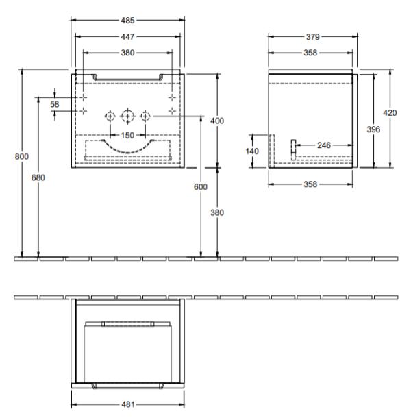 Villeroy & Boch Subway 2.0 wastafelonderkast 48,5 x 42,0 x 37,9 cm, glossy grey