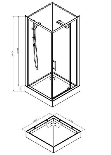 Wiesbaden Domino complete douchecabine met draaideur 80x80x210 cm, aluminium
