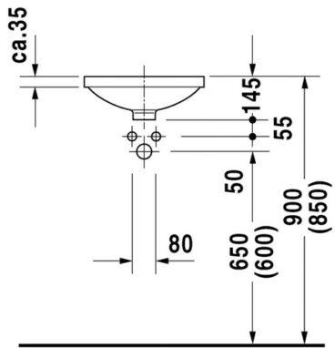 Duravit Architec inbouw wastafel 37,5 cm rond, wit
