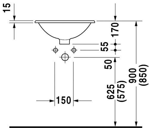 Duravit Architec inbouw wastafel 47 cm rond, wit
