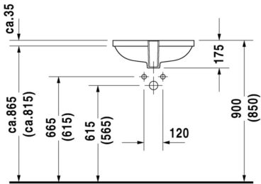 Duravit D-code inbouw wastafel 49,5x32 cm, wit