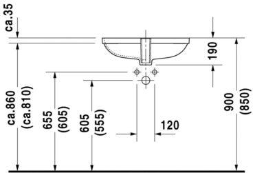 Duravit D-code inbouw wastafel 56x44 cm, wit