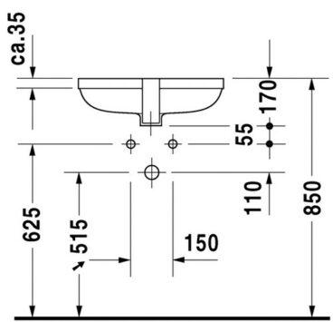 Duravit Happy D.2 inbouw wastafel 48x38,5 cm, wit