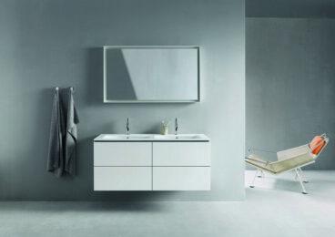 Duravit ME by Starck dubbele meubelwastafel 130x49 cm zonder kraangat met overloop WonderGliss, wit