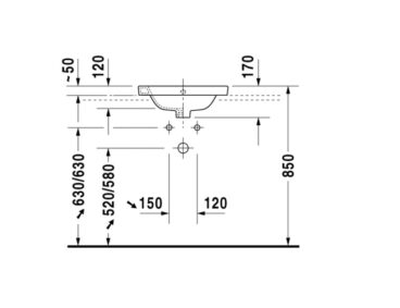 Duravit Starck 2 inbouw wastafel 48 cm met 1 kraangat WonderGliss, wit