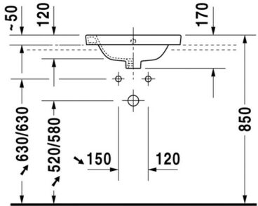 Duravit Starck 2 inbouw wastafel 48 cm met 1 kraangat, wit
