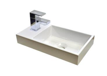 Sanicare Q40 mineraalmarmeren fontein voor toiletmeubel 40x22cm wit