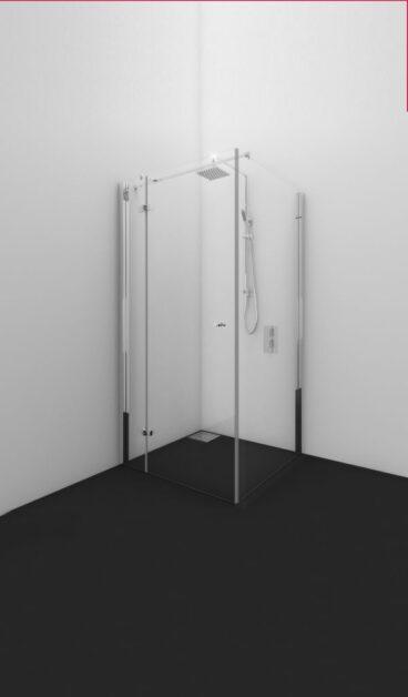 Van Rijn Bon cabinedeur 200 x 87-89 cm, 8 mm behandeld glas, draairichting links, stabilisatiestang