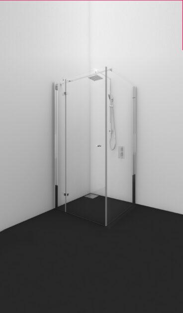 Van Rijn Intarsio hoekcabine 200 cm x 88 cm x 68 cm met 8 mm helder behandeld glas, draairichting rechts en stabilisatiestang