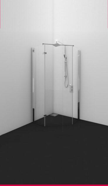 Van Rijn Intarsio vijfhoekcabine 200 cm x 97-99 cm, 8 mm helder glas, deurmaat 70 cm, linksdraaiend, stabilisatiestang