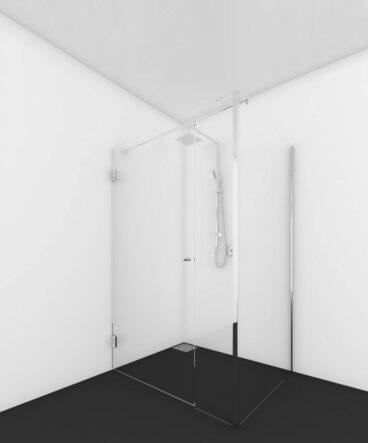 Van Rijn ST01 hoekcabine 198,8x100,2x87-89 cm met stabilisatiestang, chroom