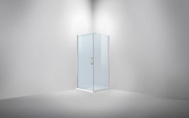 Van Rijn hoekcabine 200 x 97 - 99 x 97 - 99 cm, 6 mm helder behandeld glas, deur links of rechts te monteren, aluminium profiel