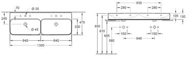 Villeroy & Boch Finion dubbele wastafel 130x47 cm 2 kraangaten CeramicPlus, alpin wit