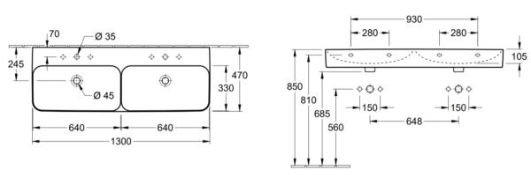 Villeroy & Boch Finion dubbele wastafel 130x47 cm met 2 kraangaten en overloop CeramicPlus, alpin wit