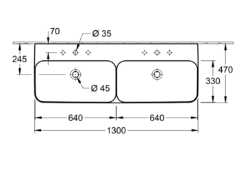 Villeroy & Boch Finion dubbele wastafel 130x47 cm met 2 kraangaten zonder overloop CeramicPlus, alpin wit