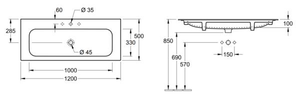 Villeroy & Boch Finion meubelwastafel 120x50 cm, met kraangat en ViFlow, excl. kraan, CeramicPlus, wit