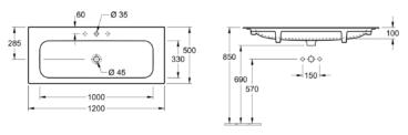 Villeroy & Boch Finion meubelwastafel 120x50 cm, met kraangat en overloop, excl. kraan, CeramicPlus, wit