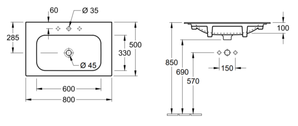 Villeroy & Boch Finion meubelwastafel 80x50 cm, met kraangat en ViFlow, excl. kraan, CeramicPlus, wit