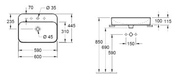 Villeroy & Boch Finion opzet wastafel 60x44,5 cm met kraangat CeramicPlus, alpin wit