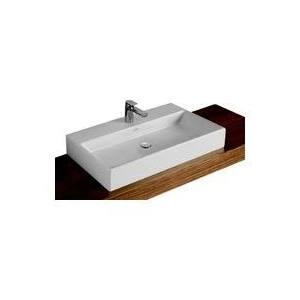 Villeroy & Boch Memento meubelwastafel 100x47 cm met overloop met 2 kraangaten CeramicPlus, wit
